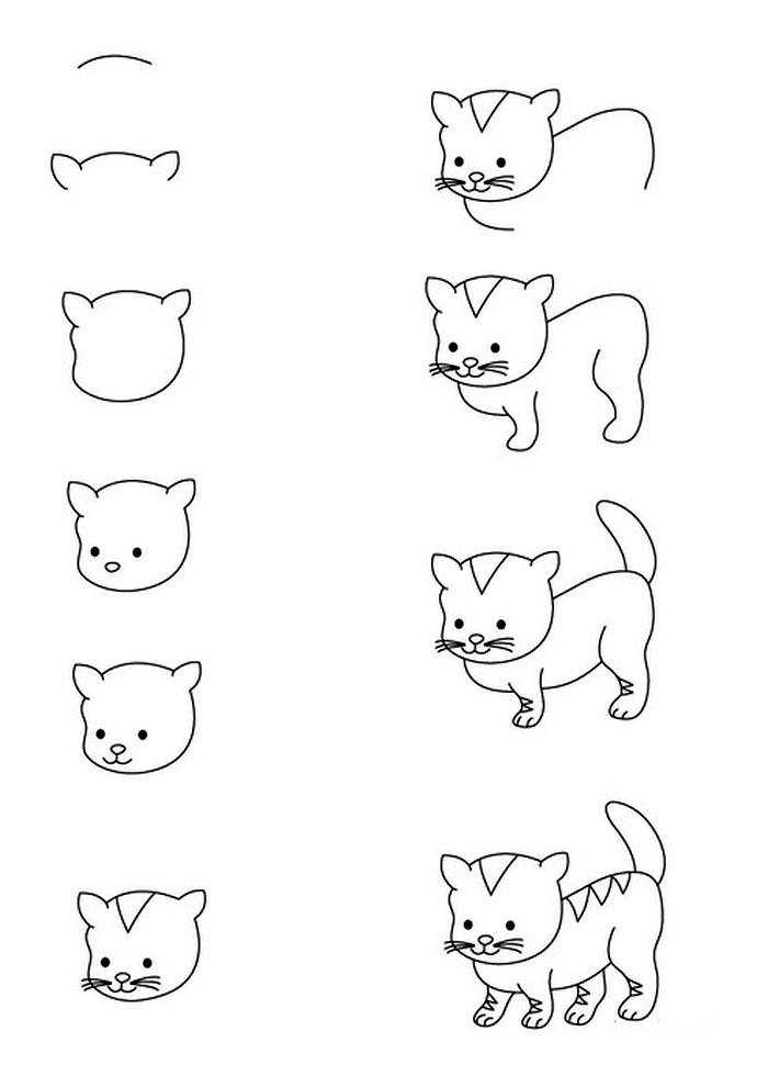 как нарисовать щенка и котёнка вместе
