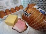 Хлеб для сэндвичей из муки грубого помола - 4 ломтика Ветчина - 2 ломтика Сыр - 2 ломтика Яйцо - 1 штука Листовой салат - 2 листика