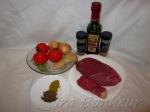 Говядина — 0, 400 гр Томаты — 3шт Репчатый лук — 2 шт Имбирь величиной с грецкий орех Масло оливковое Карри — 1 чайная ложка Приправы и специи Йогурт натуральный (для соуса)