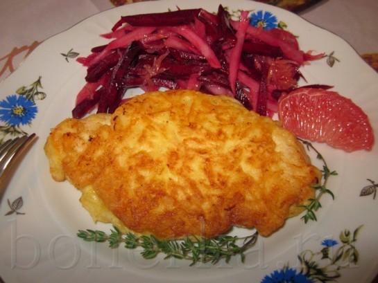 Куриный шницель в сырной шубе