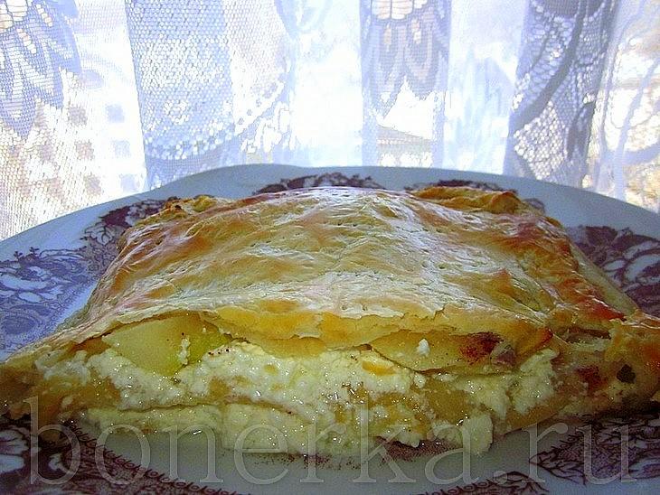 367Пирог с творогом и яблоками в духовке рецепт на кефире